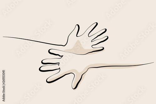 Fototapety, obrazy: Human hands together. Continuous line