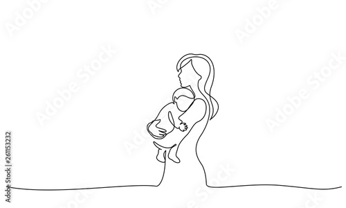 Fototapeta Woman hold her baby with air balloons obraz