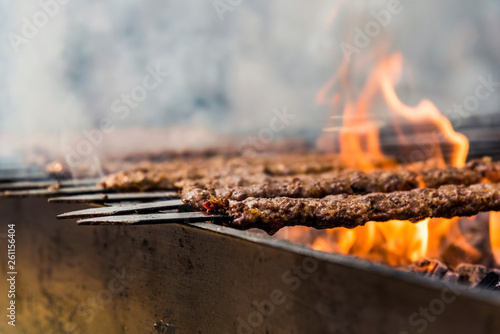 Traditional Adana kebab grilled on a bbq with orange coloured flame and smokes i Wallpaper Mural