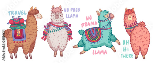 Obraz Cute Lamas with funny quotes. - fototapety do salonu