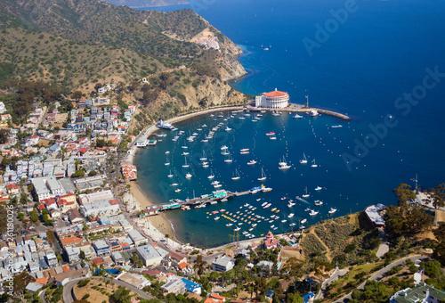 Aerial photo of Avalon Harbor on Catalina Island of the Coast of Southern California.