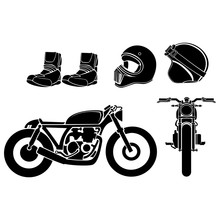 Vector Illustration Of A Motorcycle With Helmet And Shoes