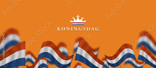 Photo Koningsdag and  design template for poster, 27 april, waving netherlands flag, E
