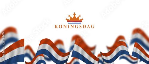 Fotografía  Koningsdag and  design template for poster, 27 april, waving netherlands flag, E