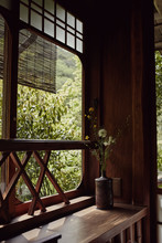 Traditional Japanese Design Elements On A Corner Window Ledge In Kyoto, Japan