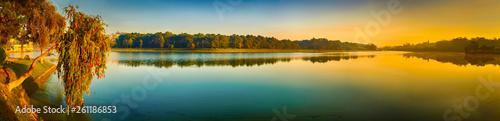 Photo Stands Paris Sunrise over Xuan Huong Lake, Dalat, Vietnam. Panorama