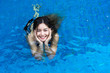 Asian woman smiling standing in blue pool