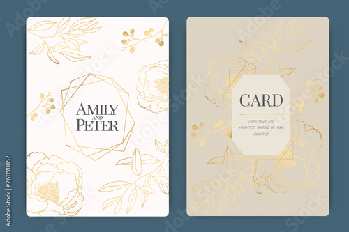 Fototapety, obrazy: Wedding Invitation, floral invite thank you, rsvp modern card Design in white  golden flower and leaf branches decorative Vector elegant rustic template