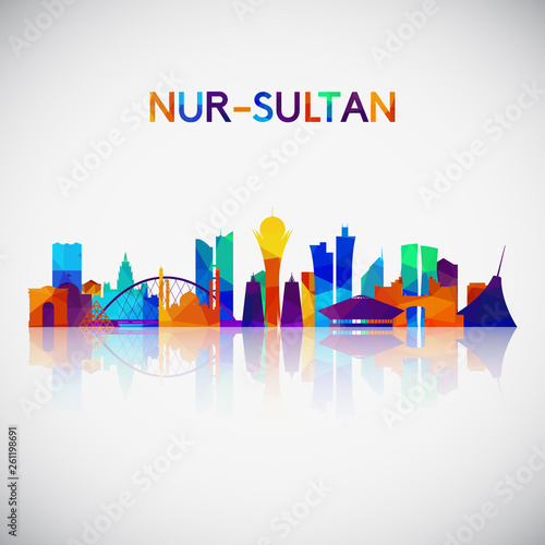 Nur-Sultan skyline silhouette in colorful geometric style Wallpaper Mural