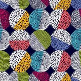 Dekoracyjne abstrakcyjne kropki w stylu lat 60-tych. Wektor wesoły wzór polka dot. Może być stosowany w przemyśle tekstylnym, papierze, tle, scrapbookingu. - 261199214