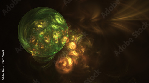 Abstract transparent green and golden crystal shapes Canvas Print
