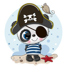 Cute Cartoon Panda In A Pirate...
