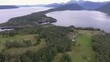 Panoramic aerial shot magnificent islands in Norway. Wonderful seascape in