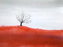 Watercolor Landscape Dead Tree Stand Alone In Red Meadow Field.