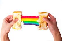 Rainbow Cheese Sandwich On Whi...