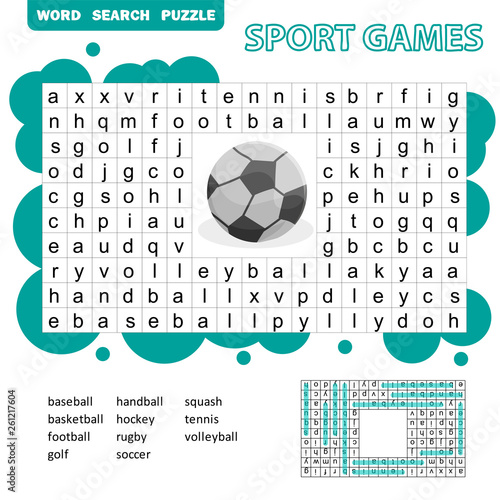 Sport Games Themed Word Search Puzzle For Kids. Answer Included. Fun  Education Game For Kids, Preschool Worksheet Activity, Vector Illustration  Stock Vector Adobe Stock