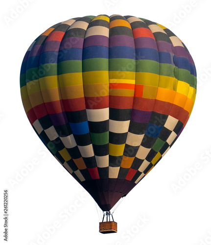 Poster Montgolfière / Dirigeable Isolated photo of hot air balloon isolated on white background.