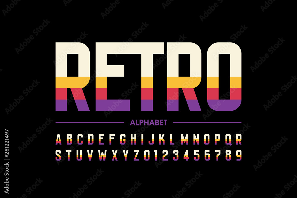 Fototapeta Modern retro style font design, alphabet letters and numbers