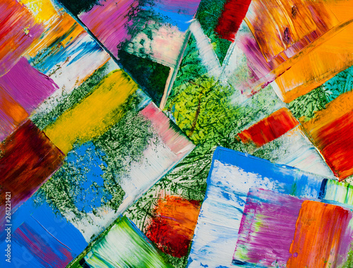 Spoed Fotobehang Psychedelic Abstract paintings. Hand drawn oil painting. Color texture.