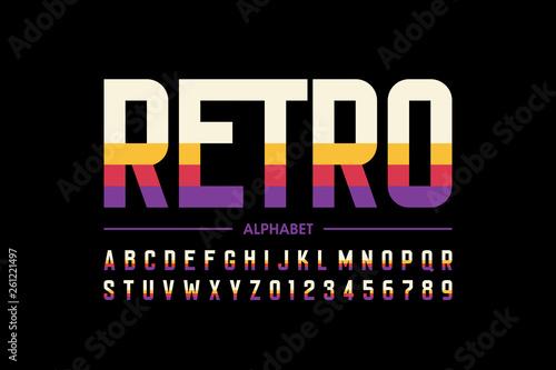 Fototapeta Modern retro style font design, alphabet letters and numbers obraz