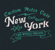 New York. Cafe racer. Hipster style. Print for shirt. Vector serif font.