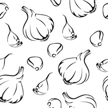 Garlic Seamless Pattern. Black White Image. Simple Print Drawn By Lines. Vector  Illustration Of Sliced Garlic, Garlic Clove, Garlic Bulb In Simple Style.