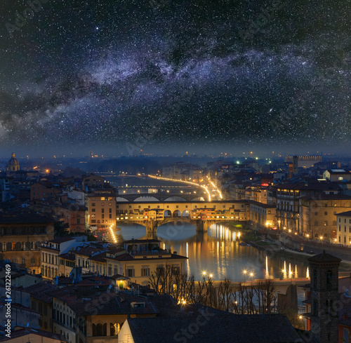 Foto auf Leinwand Blaue Nacht Night Florence top view and Milky Way, Italy