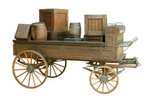 Old Cart With Wooden Barrels On A White Background.