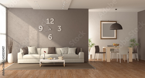 Stickers pour porte Pierre, Sable Living room with sofa and dining table