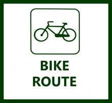 Bike Route Sign On White Backg...