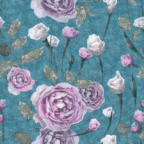 piekny-laciasty-kwiecisty-wektorowy-bezszwowy-wzor-rozowa-roza-kwiaty-z-liscmi-na-niebieskim-tle-grunge-szablon-do-tekstyliow