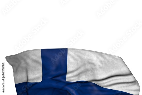 Fototapety, obrazy: cute Finland flag with large folds lying flat in the bottom isolated on white - any occasion flag 3d illustration..
