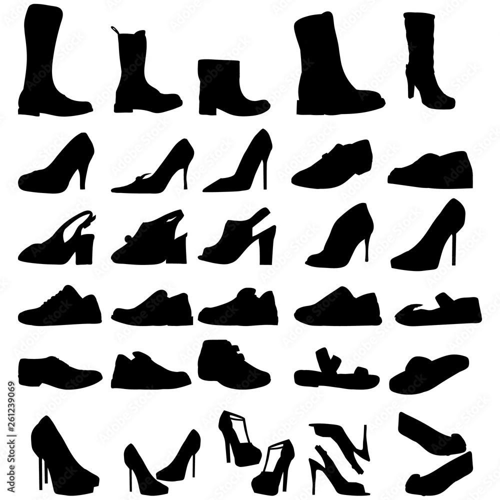 Fototapeta vector isolated shoe set silhouette