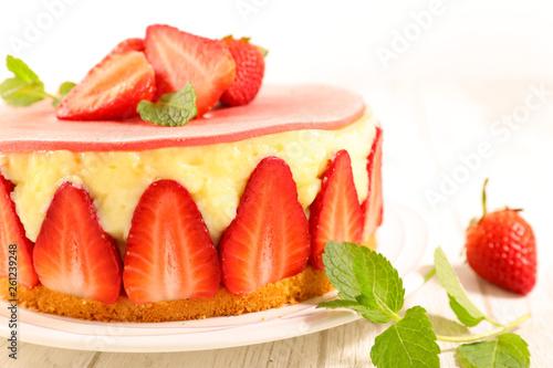 Photo  strawberry shortcake, french strawberry cake