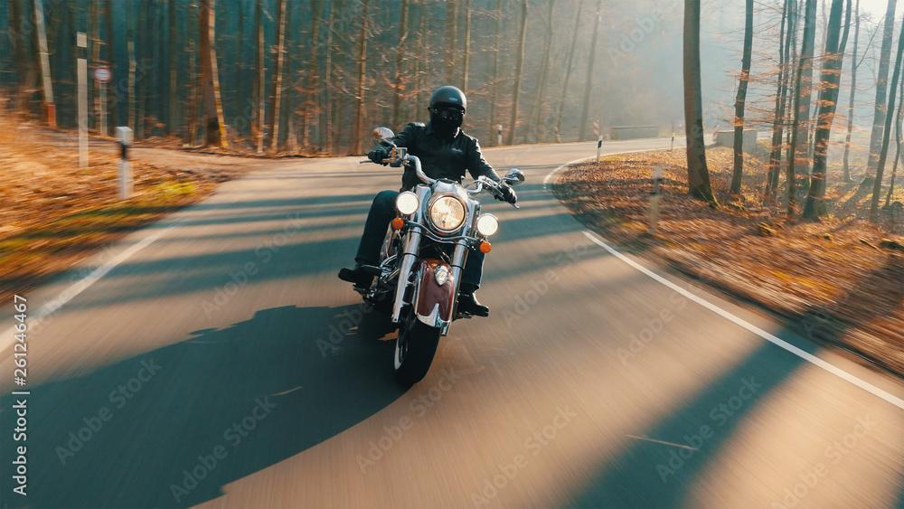 Fototapeta Motorrad auf Landstraße