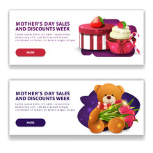 Two Discount Modern Horizontal White Banners For Mother's Day With Buttons, Gift, Strawberry, Cupcake And Teddy Bear With A Bouquet Of Tulips