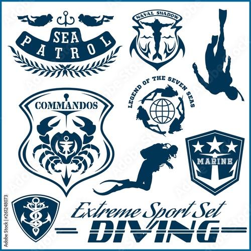 Fotografie, Tablou Set of Scuba diving club and diving school design