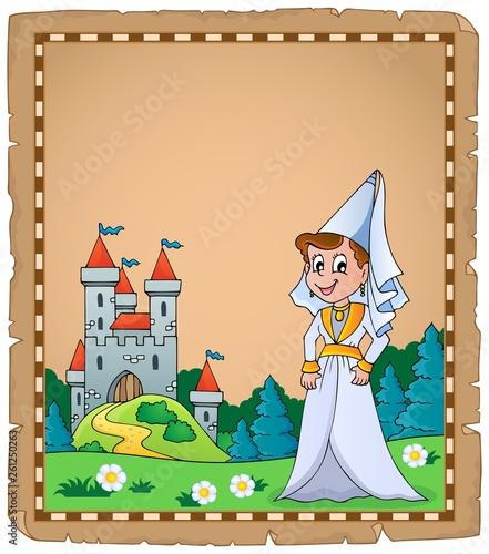 Papiers peints Enfants Medieval lady theme parchment 2