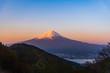 Mount Fuji sunrise with cityspace