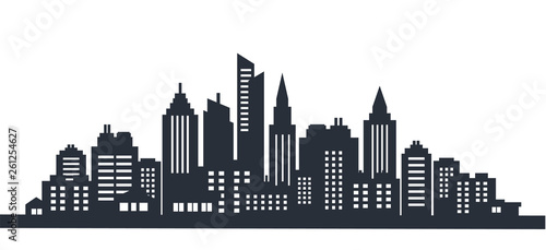 Foto auf Gartenposter Weiß City silhouette land scape. City landscape. Downtown landscape with high skyscrapers. Panorama architecture Goverment buildings illustration. Urban life