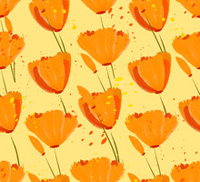 Seamless Pattern With Beautiful Orange Flowers And Pollen Splashes. California Poppies, Spring Flowers, Tulips.