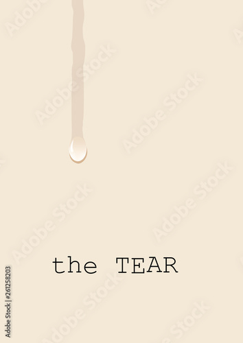 Fotografía  Tear, weeping on the white sheet, a concept of sadness and suffering