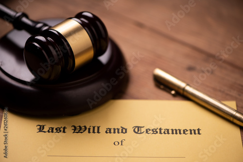 Fototapety, obrazy: Last will and testament form with gavel. Decision, financial