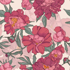 Panel Szklany Podświetlane Peonie Seamless pattern peony flower on white background with butterfly. Element for design. Hand-drawn contour lines and strokes. Fashion vector illustration.