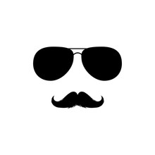 Moustaches And Sunglasses Mans Face Clipart. Black Fashion Sunglasses Isolated Vector Clipart. Silhouette For Laser Cutting Design. Mustache For Barbershop Or Mexican Carnival. Fashion Accessory.