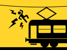 Man Is Killed By Touching Overhead Line Above Train. Hazardous And Dangerous Risking With Electricity And Electric Wire Or Cable. Vector Illustration