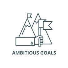 Ambitious Goals Line Icon, Vector. Ambitious Goals Outline Sign, Concept Symbol, Illustration