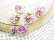 Dried Flower In Crystal Clear Resin Pendant Necklace, Pendant With A Real Flowers. .