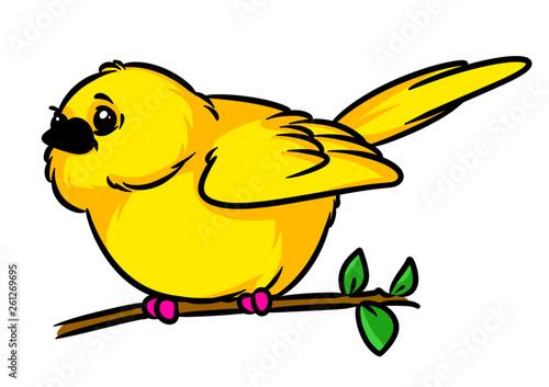 Fotografia  Canary little yellow bird animal character sitting branch cartoon illustration i