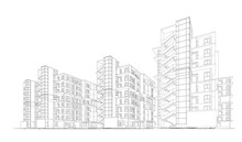 3d Wireframe Of Building. Sket...
